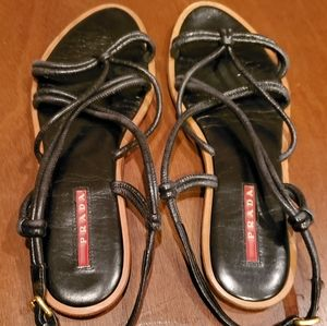 Prada womens flat strappy sandals